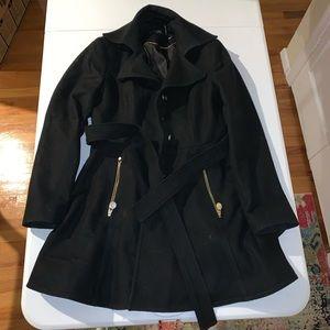 INC black belted Pea coat jacket coat